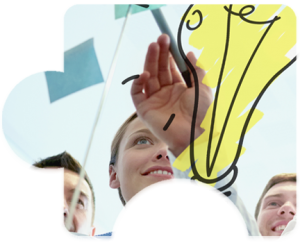 Business team reviews ideas on a clear board with a large yellow lightbulb illustration