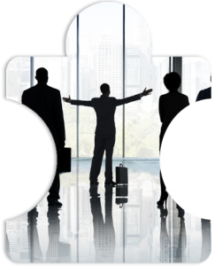 A group of business people in silhouette standing in front of a large office glass window with one person arms out implying leadership